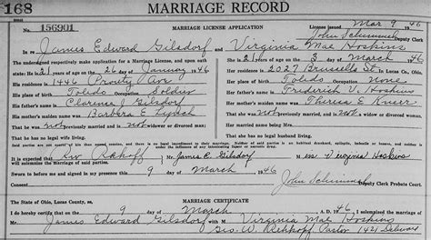 Lucas County Ohio Marriage Records Genealogy Data Page 197 Notes Pages