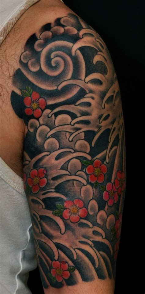 tattoo japanese wind japanese wave tattoo with cherry blossoms google search