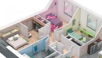 plan 3d maison plain pied lila maisons clair logis