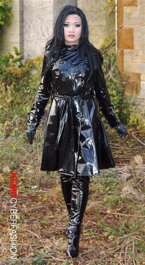 lade in pvc shiny black pvc designer trench coat from kemo