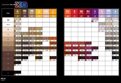 paul mitchell color paul mitchell the color xg color chart color charts