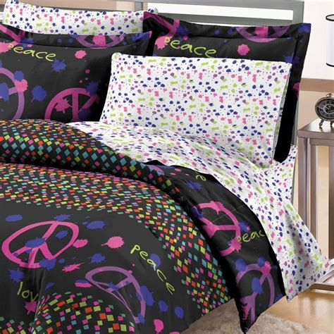 neon comforter new confetti peace teen girls neon bedding comforter sheet