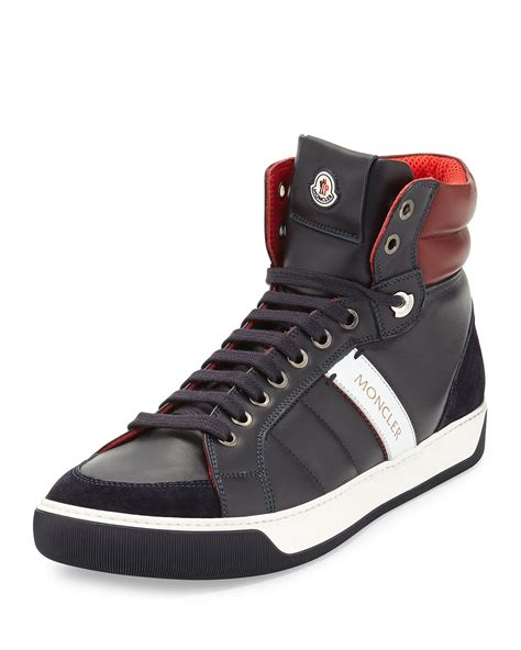 popular s sneakers moncler leather high top sneakers in blue for lyst