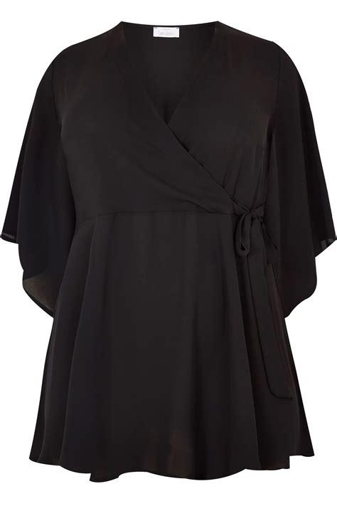 Black Letter Methodology yours black wrap blouse with kimono sleeves plus