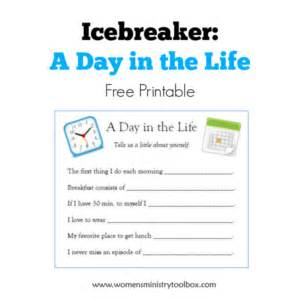 Icebreaker a day in the life free printable