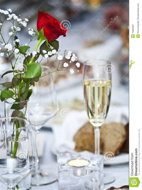 Flowers And Glass Of Champagne Stock Image   Image of