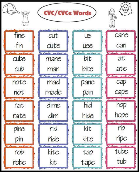 pattern words 1st grade practice reading cvc cvce and cvc c v v c words freebie