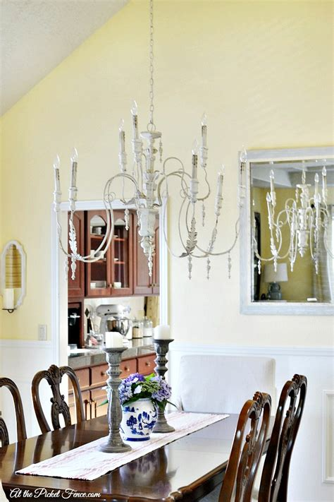 dining room chandelier   picket fence