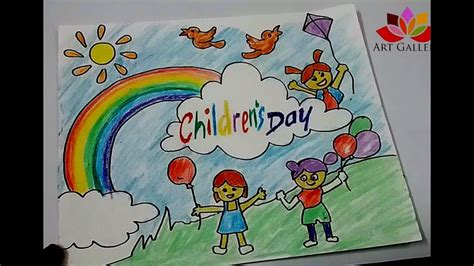 Drawing 6 Hours A Day by How To Draw Children Day Easy Drawing