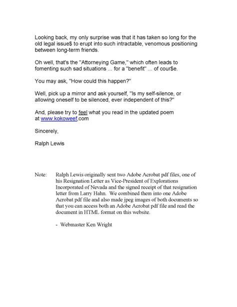 Resignation Letter Sle Vice President Ralph E Lewis Ein Vp Resignation Letter
