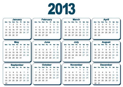 Calendar Of 2013 Calendar Grid 2013 57 Free Vector Graphic