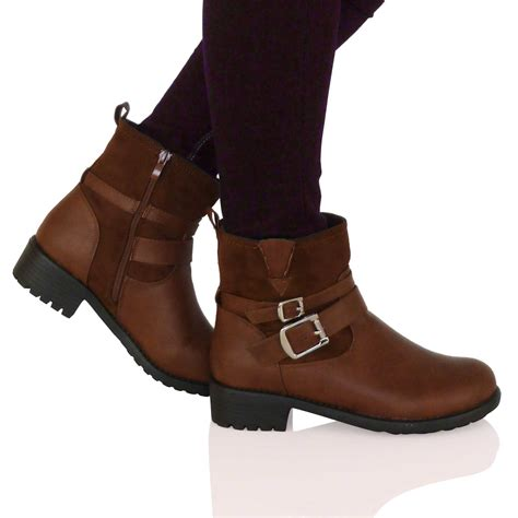 low cut biker boots d7f womens flat biker ankle boots low cut buckle zip