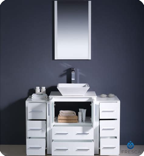 Fresca Torino 48 Quot White Modern Bathroom Vanity With Two Modern Bathroom Cabinets Vanities