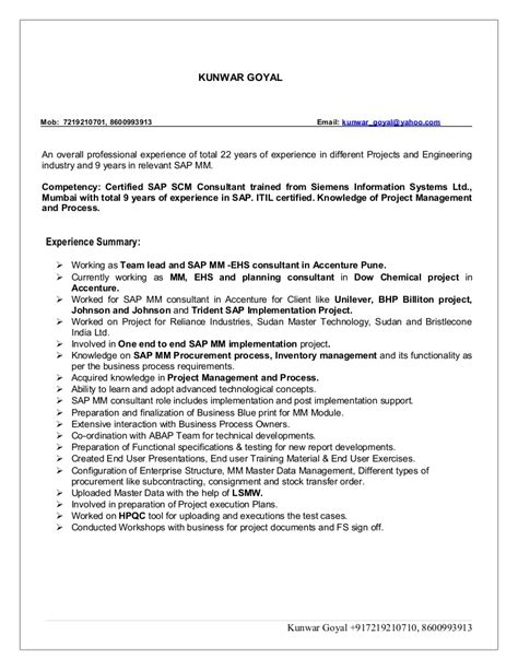 sap abap consultant resume format free download template commonpence