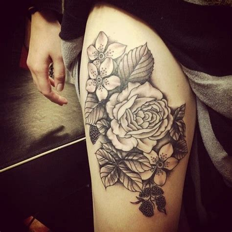 black rose tattoo on leg black ink roses and flowers tattoos