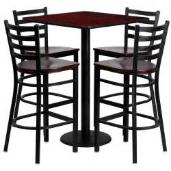 chairs bar stools and tables restaurant table chairs 30 mahogany laminate with 4 ladder metal bar stools ebay