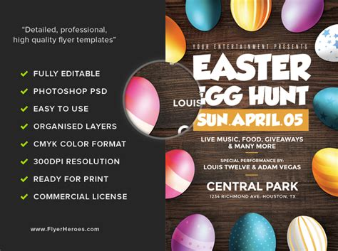 easter egg hunt flyer template flyerheroes