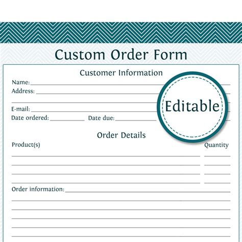 Custom Cake Order Form Template Custom Order Form Fillable Business Planner Printable