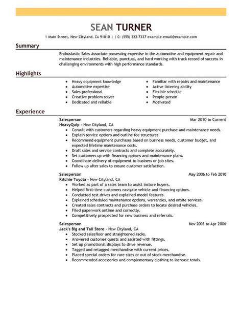 Salesperson Resume by Best Retail Salesperson Resume Exle Livecareer