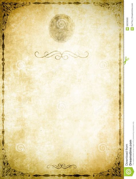 fashioned writing paper template paper background with decorative border stock photo