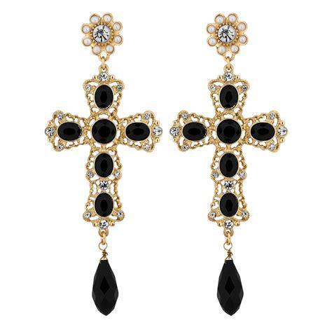 Cross Drop Earring earring with cross cross hoop earrings ebay trendearrings