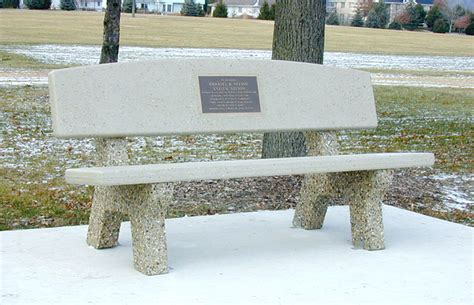 all concrete classic memorial bench w horizon back