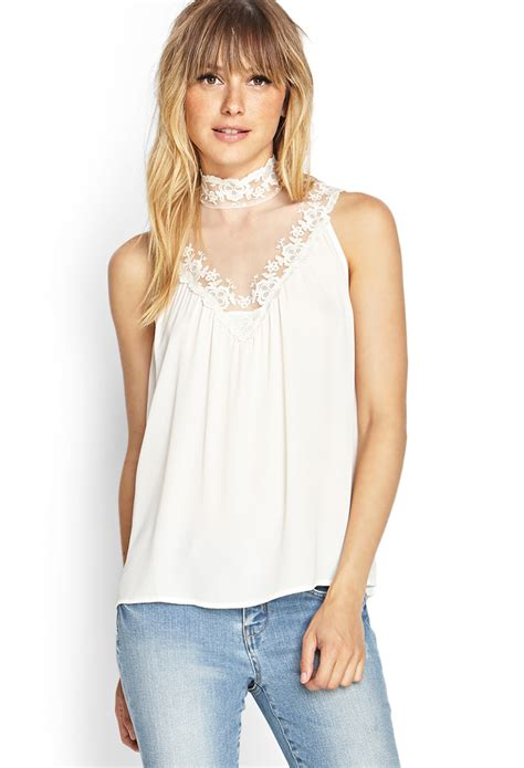 High Neck Lace Top lyst forever 21 contemporary high neck lace top in white