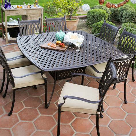 Cast Aluminum Patio Dining Sets Sale Belham Living Palazetto Cast Aluminum Patio Dining Set Seats 8 At Hayneedle
