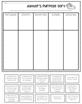 Author's Purpose - Pie'ed Student Activities and