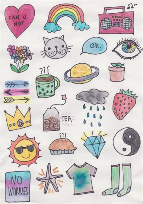 sticker doodle draw fabulous watercolor stickers notebook stickers