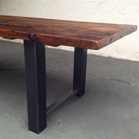 wood metal dining table reclaimed wood and steel dining table the coastal craftsman
