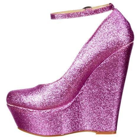 onlineshoe pink glitter wedge platform shoes ankle