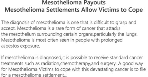 Mesothelioma Settlement Fund 1 by Mesothelioma Payouts Just Do It
