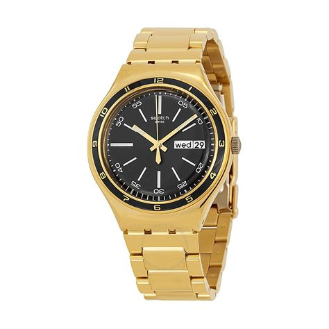 Swatch Irony Watches | swatch irony black dial gold tone stainless steel bracelet