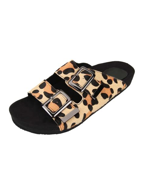 flat buckle sandals buckle flat sandals in leopard choies