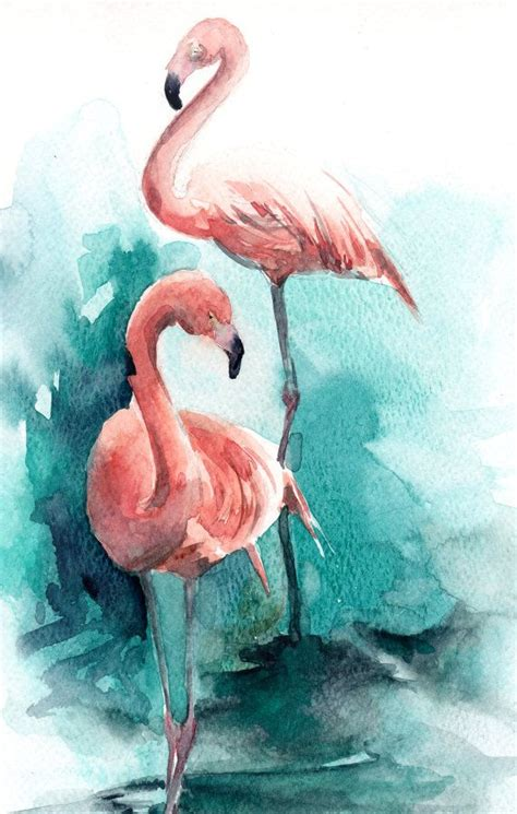 flamingos painting original watercolor painting by