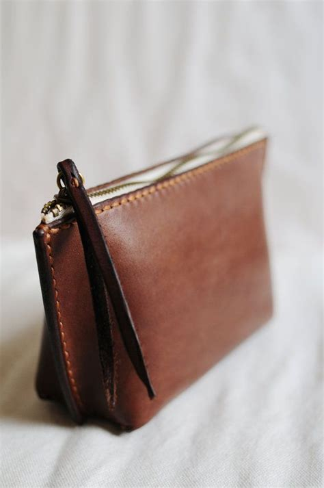 leather pounch stitched brown leather pouch