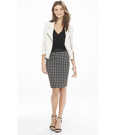 express houndstooth and minus the leather pencil skirt