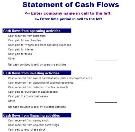cash flow new format cash flow statement template blue layouts