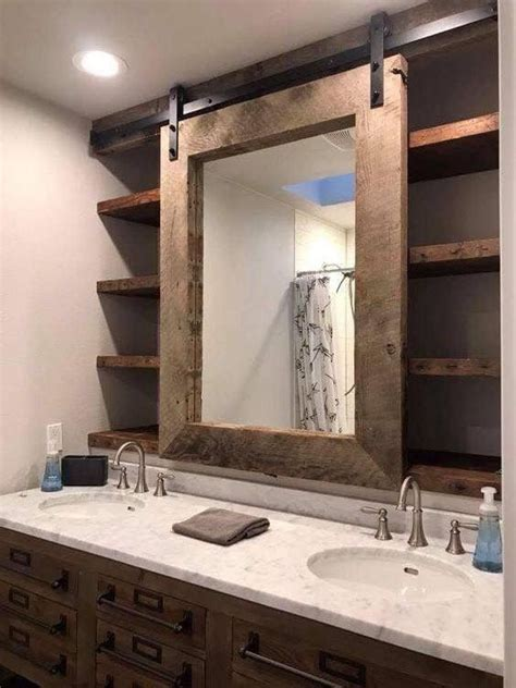 barn door bathroom mirror  vanity bathroom