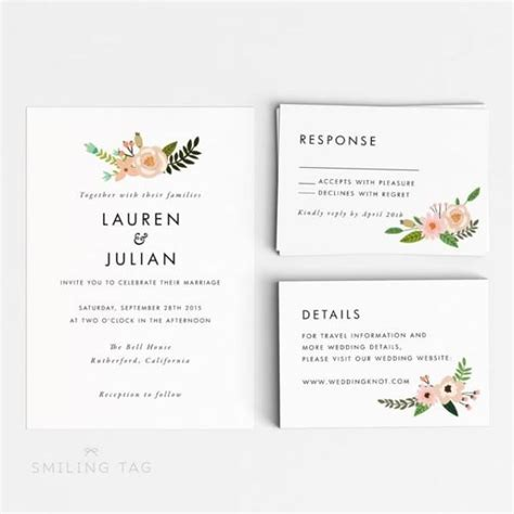 Invitation Letter To Officiate Wedding Printable Wedding Invitation Set Floral Wedding Invitation Ready To Print