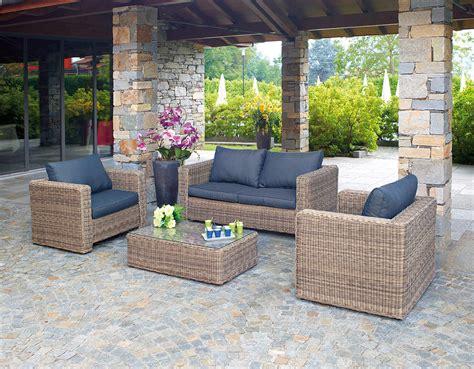arredo giardino in rattan sintetico set divanetto professionale divano 2 poltrone