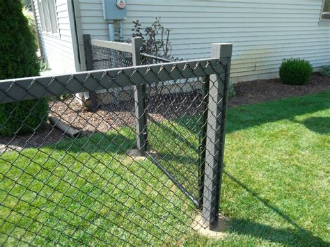 chain link fence post chain link fence on wood post pinteres