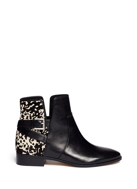 michael kors salem pony hair leather boots in black lyst
