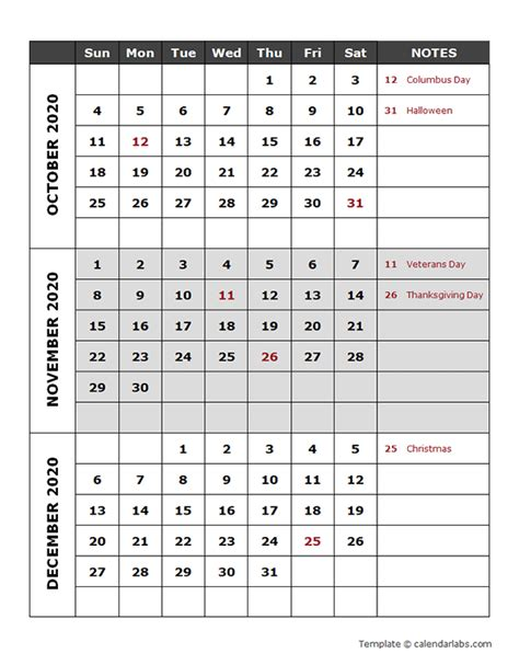 quarterly calendar template  printable templates