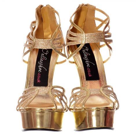 Sandal High Heels Gladiator Selop Tali Gold Silver Kulit 5cm shoekandi glitter peep toe platform strappy gladiator shoe gold silver black