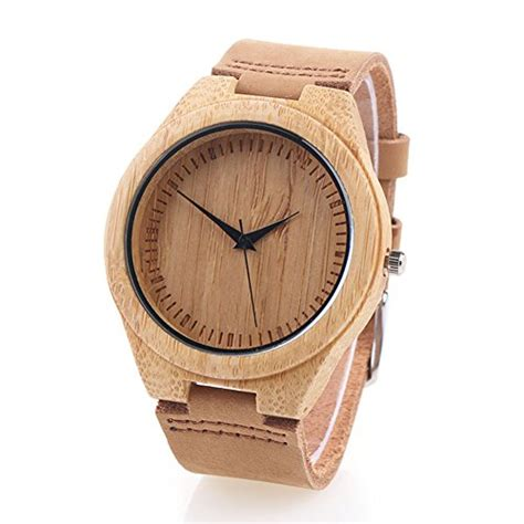 ladaires en bois save 43 bamboo wooden with genuine leather japanese quartz movement brown 4