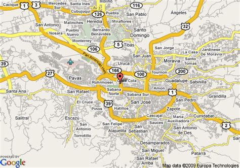san jose map hotels map of crowne plaza hotel san jose corobici costa rica