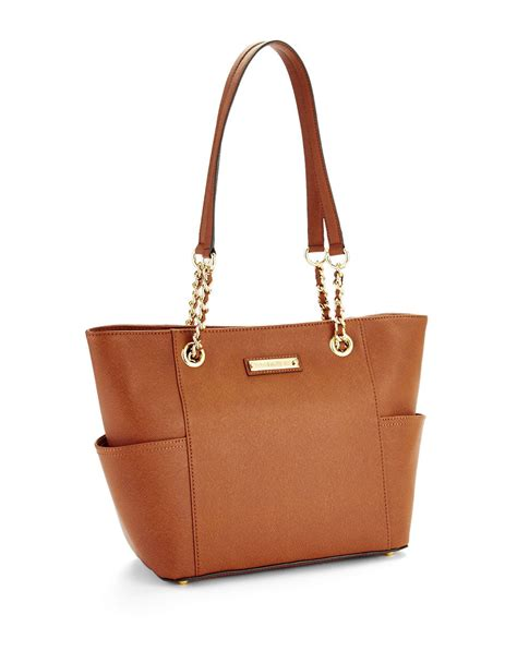 lyst calvin klein saffiano leather tote in brown