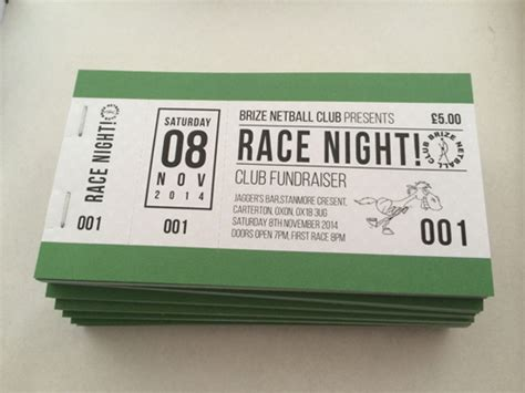 printable race night tickets ticket sles for an event